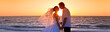 canvas print picture - Bride and Groom Married Couple Kissing Sunset Beach Wedding