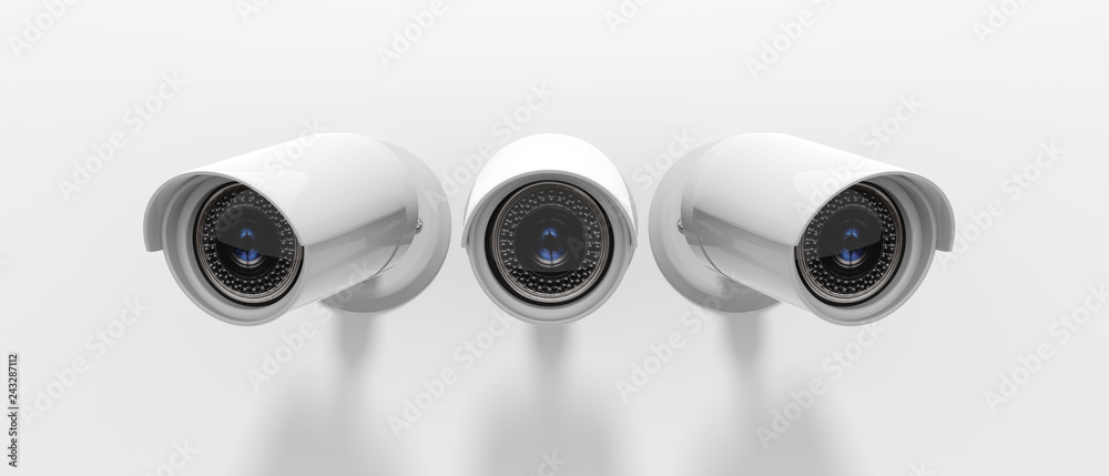 Fototapeta Security Cameras CCTV isolated on white background. 3d illustration