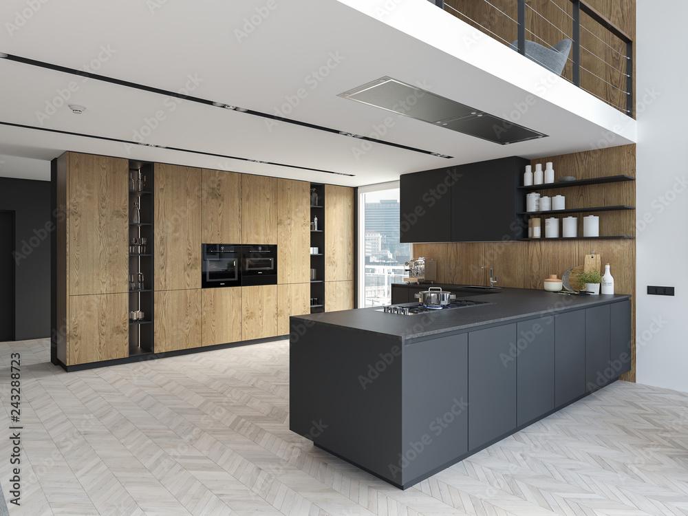 Fototapety, obrazy: new modern city loft apartment. 3d rendering