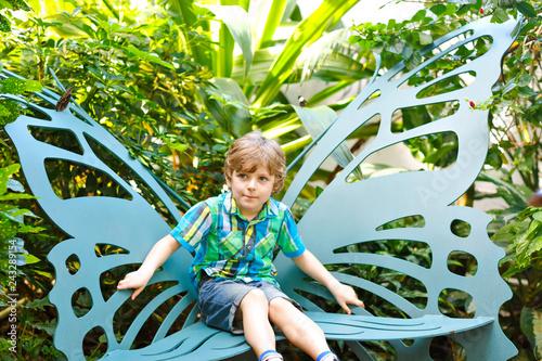 Αφίσα  Little blond preschool kid boy discovering flowers and butterflies at botanic garden