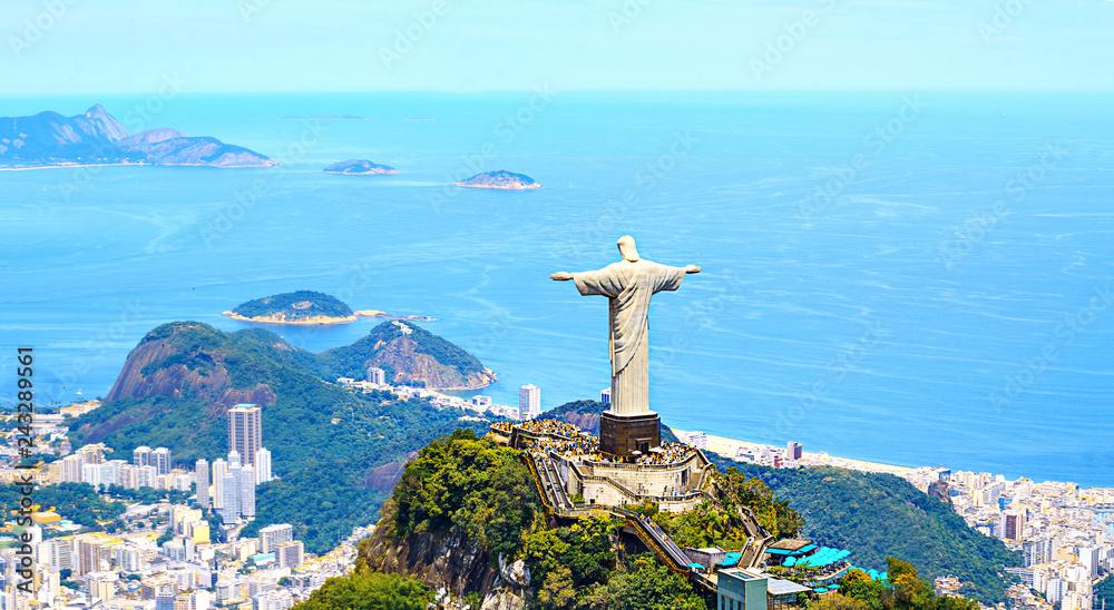 Fotografie, Tablou  Aerial view of Rio de Janeiro with Christ Redeemer and Corcovado Mountain