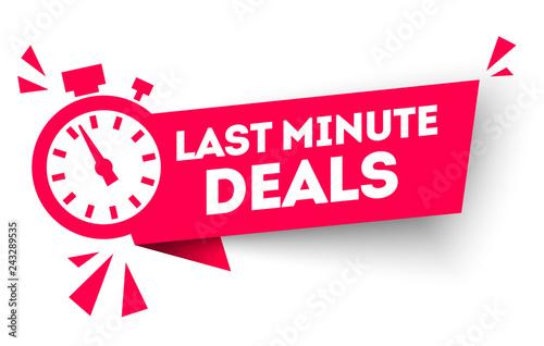 vector illustration last minute deal button, flat label flag sign, alarm clock countdown logo