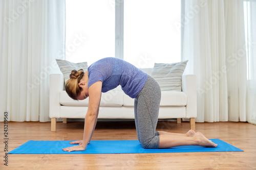 Slika na platnu fitness, yoga and healthy lifestyle concept - woman doing cat pose on mats at ho