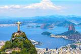 Aerial view of Rio de Janeiro with Christ Redeemer and Corcovado Mountain. Brazil. Latin America, horizontal