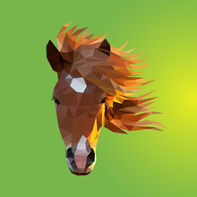 The Face Of Horse Consisting Of Triangles - Vector
