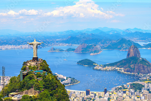 Aerial view of Rio de Janeiro with Christ Redeemer and Corcovado Mountain. Brazil. Latin America, horizontal