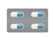 Capsule Medicine In Blister Pack Design Vector