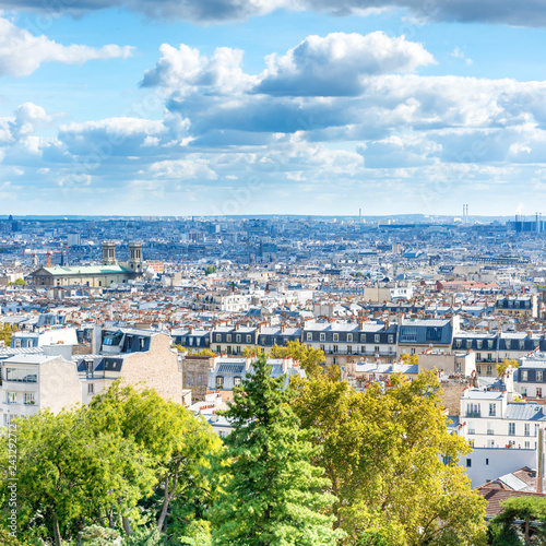 Poster Centraal Europa Panorama city of Paris from Montmartre. Beautiful travel cityscape