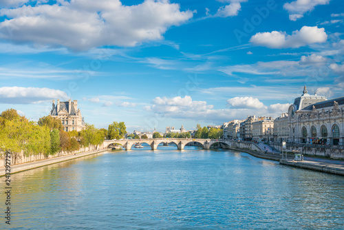 Valokuvatapetti Paris cityscape with view over Seine river on Grand Palais and Quai d'Orsay