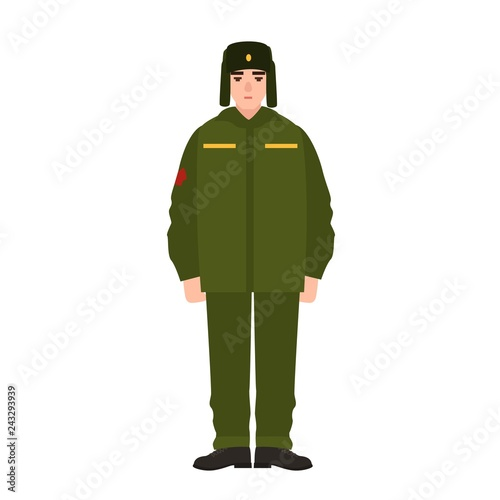 9de2d62cb6f75 Soldier of Russian armed force wearing army winter uniform and fur hat.  Military man