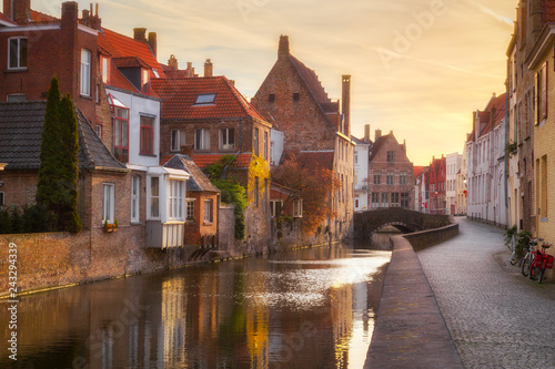 Poster Centraal Europa Historic city of Brugge at sunrise, Flanders, Belgium