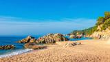 Sea beach landscape in Costa Brava. Cala de Boadella platja in Lloret de mar
