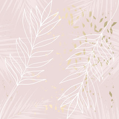 Panel Szklany Minimalistyczny Tropical Worn Floral pastel rose gold marble pattern for wallpaper, textile, flooring, interior design, wedding invitation, fashion banners. Chic background for your design made in vector