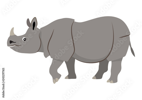 Valokuvatapetti Cute wild animal with horn on nose, gray walking rhinoceros icon, vector illustr