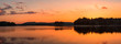 canvas print picture - Golden lake sunset panorama / Panoramic view with golden lake sunset in Rhodope Mountains, Bulgaria