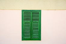 Old Window With Green Shutters