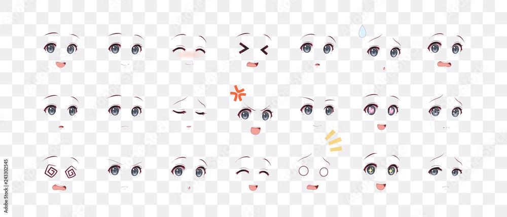 Fototapety, obrazy: Emotions eyes of anime (manga) girls