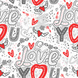 Seamless vector background with hearts, arrows, ringlets, flowers, love. illustration for fabric, scrapbooking paper and other.