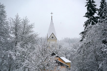 Forest While Snowing In Winter With Church Dome
