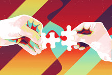 Hands With Two Puzzle Pieces Abstract Background , Modern Illustration For Teamwork, Partnership , Relationship , Connection And Cooperation Business Design