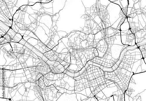 Area map of Seoul, South Korea Wallpaper Mural