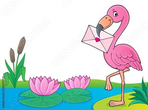 Tuinposter Voor kinderen Flamingo with love letter theme 4