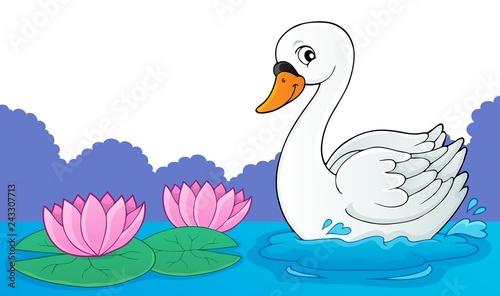 Tuinposter Voor kinderen Swan theme image 1