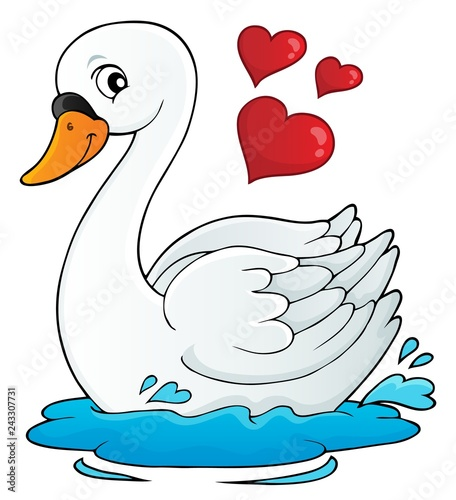 Tuinposter Voor kinderen Valentine swan theme image 1