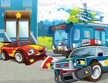 Cartoon Scene With Police Moto...
