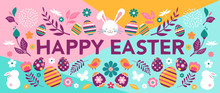 Happy Easter, Vector Banner Wi...