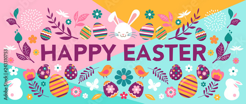 Happy Easter, vector banner with flowers, eggs and bunnies Wallpaper Mural