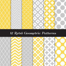 Retro Geometric Vector Patterns In Pastel Yellow, Gray And White. Subtle Backgrounds In Chevron, Quatrefoil, Jumbo Polka Dot, Diamond Lattice And Scallops. Pattern Tile Swatches Included.