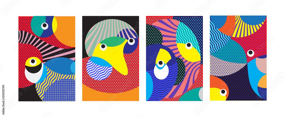 Wektor Abstrakcjonistyczna Kolorowa Geometryczna i Curvy deseniowa tło ilustracja. Set Abstrakcjonistyczny Plemienny pochodzenie etniczne dla pokrywy, plakata i druku w EPS 10