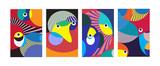 Ilustracja wektorowa streszczenie kolorowy wzór geometryczny i krzywego tła. Zestaw abstrakcyjnego tła etnicznego plemiennego na okładkę, plakat i druk w Eps 10