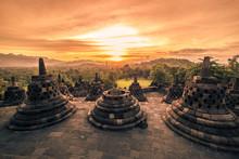 Dramatic Sunset Borobudur Temple At Sunset Yogyakarta, Java, Indonesia.