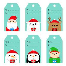 Christmas Gift Tag Set. Santa Claus Elf Snowman White Polar Bear Raindeer Deer Penguin Bird Face. New Year. Cute Cartoon Funny Kawaii Baby Character. Flat Design Blue Background.