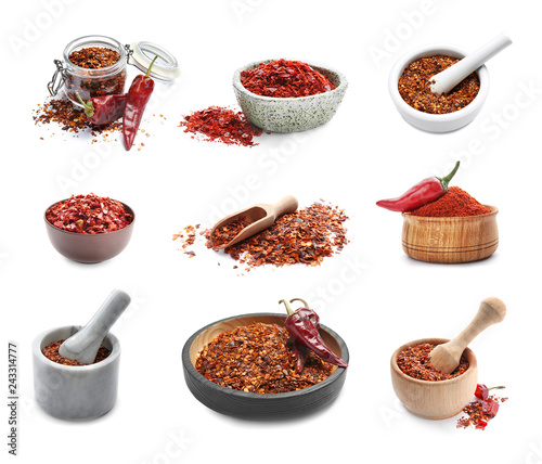 Set with chili pepper flakes on white background