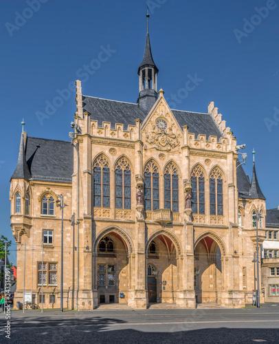 Foto op Aluminium Historisch geb. Rathaus Erfurt am Fischmarkt