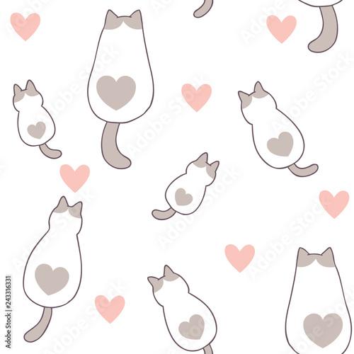 fototapeta na szkło Cartoon cute Valentines day cat and love seamless pattern vector.