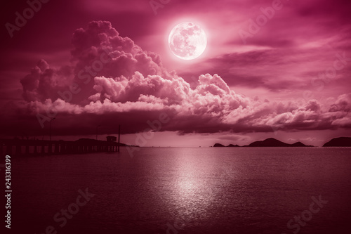 Fotobehang Crimson Landscape of sky with full moon on seascape to night. Serenity nature.