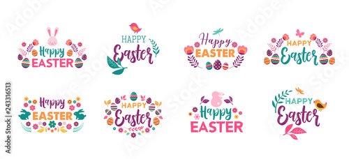 Photo Happy Easter, vector symbols, logo, badges and lettering design