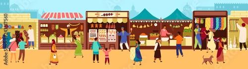 Fotografia Arab or Asian outdoor street market, souk or bazaar
