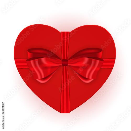 Fototapeta Heart shaped gift box with bow. Vector illustration obraz