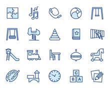 Kindergarten, Kita, Krippe, Hort Vector Icon Illustration Set