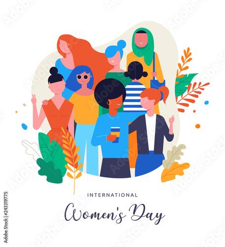 Fototapeta International Women s Day. Vector illustration, card, poster, flyer and banner. obraz na płótnie