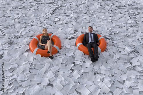 Fotomural two people are floating on the sea of paper
