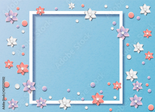 Stickers pour porte Pierre, Sable Vector illustration of many flowers or floral abstract background. In the style of cut paper. In the middle of the frame for text