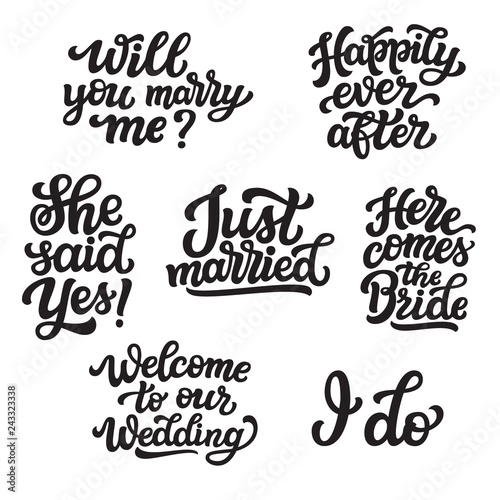 Fotografie, Obraz  Set of wedding lettering quotes