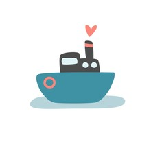 Cute Vector Print With Ship For Baby Boy. Cartoon Hand Drawn Illustration With Color Boat.