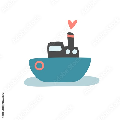 Carta da parati Cute vector print with ship for baby boy